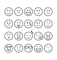 Line emoticons set vector image