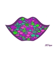 Lips shape made with kisses vector image vector image