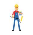 male worker character with paint roller and bucket vector image vector image