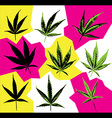 marijuana cannabis leaf silhouette symbol stamps vector image vector image