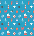marine cartoon seamless pattern nautical vector image vector image