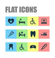 medicine icons set with nurse hat helicopter vector image vector image