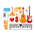 music instruments flat set vector image