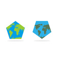 Pentagonal world map World Land and oceans on an vector image vector image