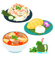 popular thai sweet mango sticky rice set vector image