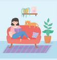 quarantine stay at home woman with book and cat vector image