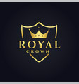 royal logo concept design with crown shape vector image vector image