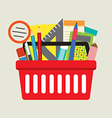 School Supplies In Basket vector image