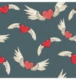 seamless wings and heart vector image