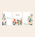 set greeting card with elegant flowers vector image