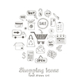 set of doodle sketch shopping icons vector image vector image