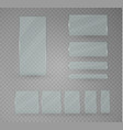 set of glass plates glass banners on a vector image