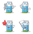 set of milk box character with mechanic foam vector image vector image