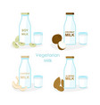 set of vegan milk different vector image