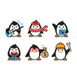 set penguin character design vector image