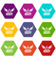 sheriff icons set 9 vector image vector image