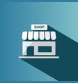 shop icon with shadow on a blue background vector image