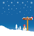 snowman and winter idyll color vector image vector image