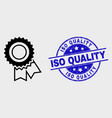 stroke award seal icon and scratched iso vector image vector image