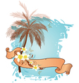 summer background with palms and flowers vector image vector image