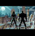 superhero couple watch night 2 vector image vector image