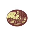 Taco Cook in Food Stall Oval Retro vector image vector image