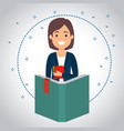 teacher woman with book vector image vector image