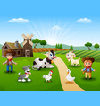the cowboy and cowgirl at the farm with animals on vector image vector image