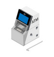 theft concept - thief stealing money from atm vector image