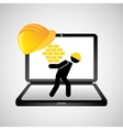 under construction web page worker wall vector image vector image