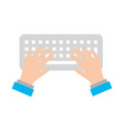 user with computer keyboard isolated icon vector image