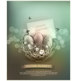 vintage Easter eggs in a wicker nest vector image vector image