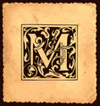 vintage initial letter m with baroque decorations vector image vector image
