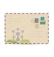 vintage postal envelope with stamps vector image