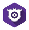 white shield with gear icon isolated with long vector image vector image