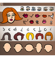 woman face elements set cartoon vector image vector image