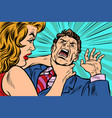 woman strangling man vector image