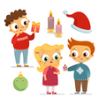 Set of children characters and christmas symbols vector image