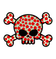 Skull with roses Flower head skeleton Crossbones vector image