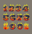 flaming numbers set vector image