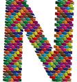 3d font letter N vector image vector image