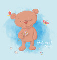a cute bear with a camomile hand vector image vector image
