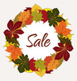 autumn sale label with yellow leaves vector image