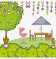 beautiful garden cartoon vector image vector image