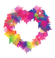 Beautiful Heart Shape From Colorful Maple Leaves vector image vector image