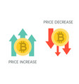 bitcoin price increase and decrease flat icon vector image vector image