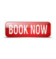 book now red square 3d realistic isolated web