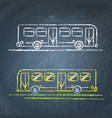bus sketch on chalkboard vector image