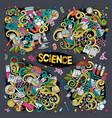 cartoon set of science doodles designs vector image vector image