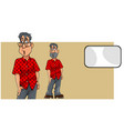 cartoon surprised man in shirt and blank card vector image vector image
